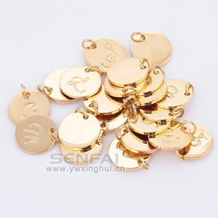 Pick 10 pcs from 16MM A-Z Gold Plated Disc Charm Hand Stamped Initial Charms Alphabet Letter Charms Tag Pendant for DIY Jewelry