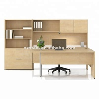 Simple Design Commercial Office Furniture Wooden Executive Office With Wood Side Cabinet