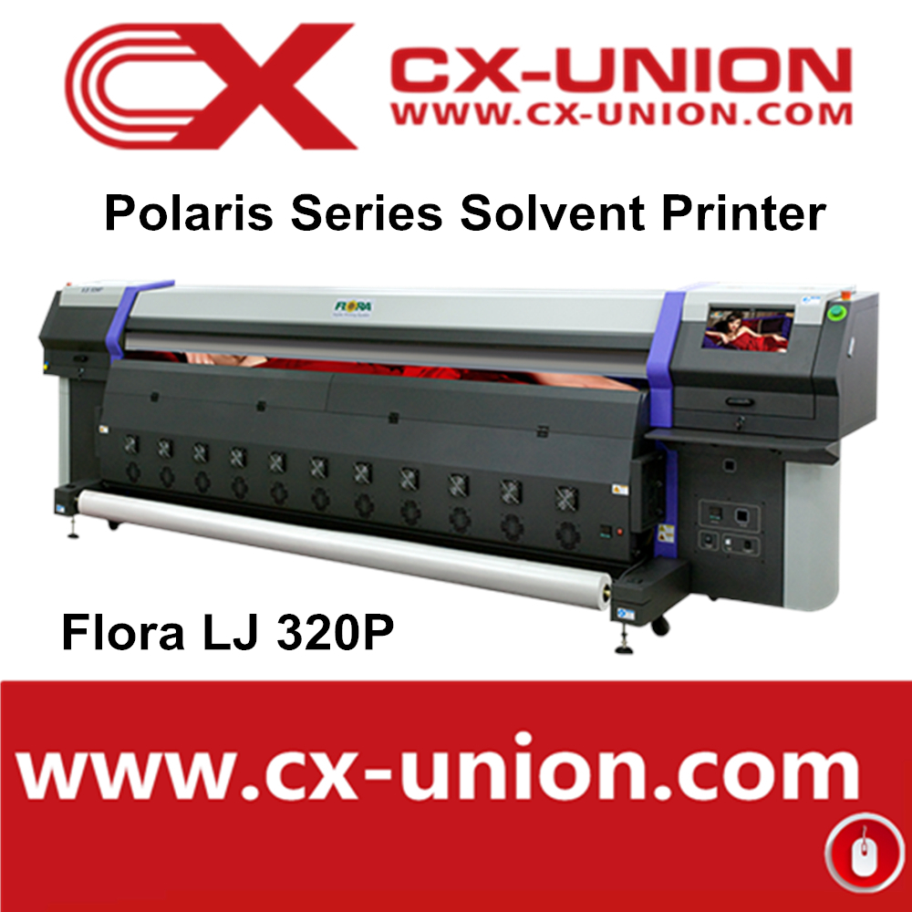 Flora lj320p 3 2m large format digital film vinyl sticker printing machine 10ft eco solvent printer