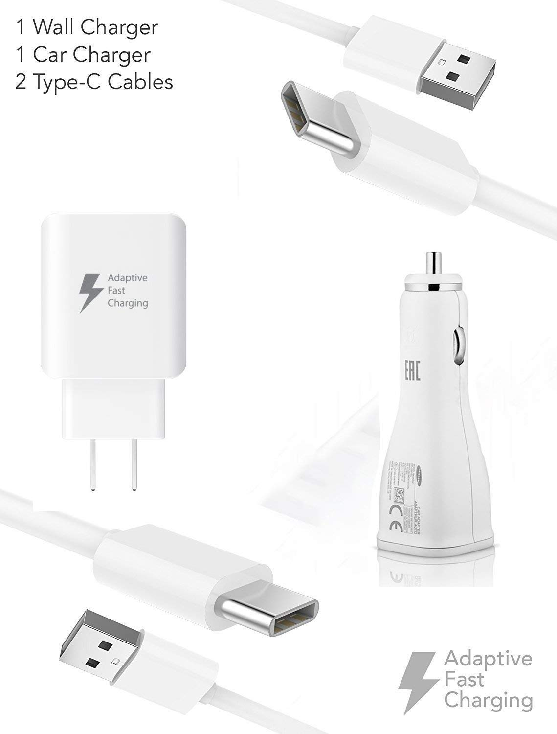 Quick Adaptive Turbo 18W Wall & Car Dual-Port USB Kit Works for Oppo Find X with (2) USB Type-C Cables!