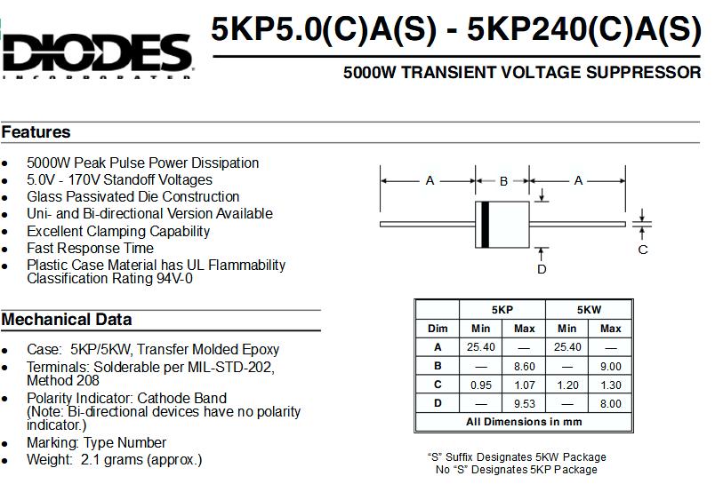 TVS Diodes Transient Voltage Suppressors 5000W 15V Unidirect 100 pieces
