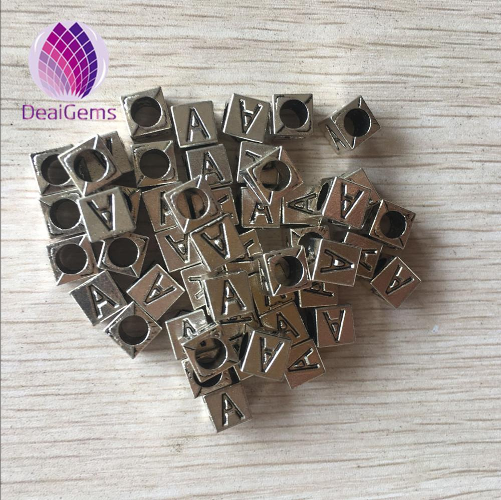 Christmas gift 7mm alloy plating square shape letter pendent with big hole beads