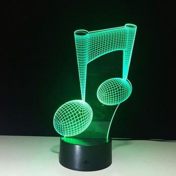 Zogifts 2019 hot fashion Muzieknoot 3D Kids Nachtlampje 3D Licht kinderen Lamp