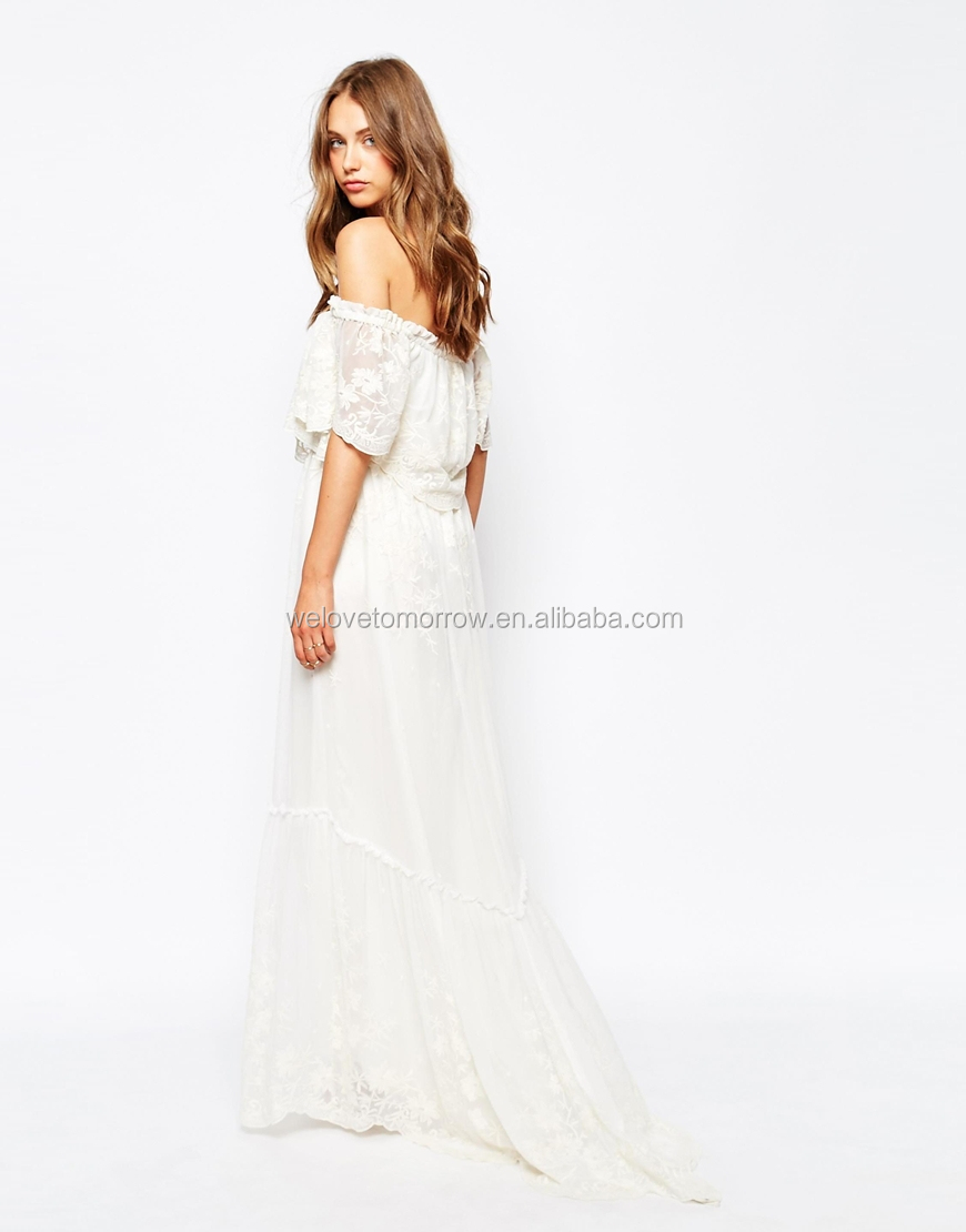 7a27102b05cc White sand off shoulder dress in embroidered floral lace design women long  beautiful maxi dress