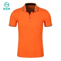 JHM Cheap Pure Color Logo Custom Mens Cotton Polo T-Shirt , Orange Polo Shirt