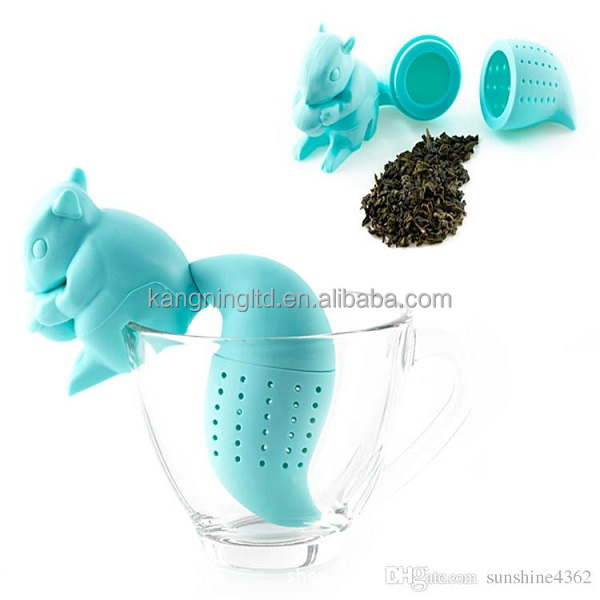 silicone Squirrel Shaped Tea Infuser Loose Leaf Strainer Bag Mug Filter