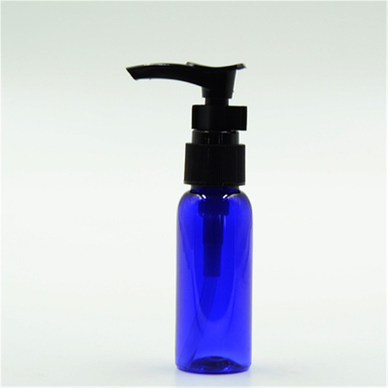 Empty Wholesale 30ml Amber Clear Blue Green plastic PET 30ml shampoo bottles with locked lotion pump