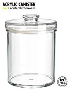 """(SPA & Cosmetics storage system) Felliclassic round airtight canister. 6""""x 6"""" x 8"""". (78oz/2.3L).Classic canister that decorate your space very well! Shatterproof, BPA Free.(U381963)"""