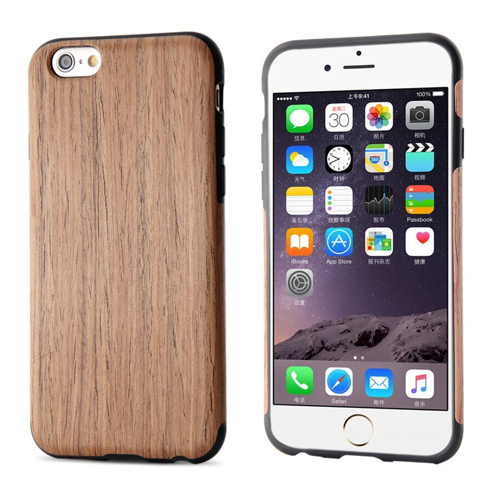 iPhone 6S Case, iPhone 6 Case, BELK [Air To Beat] [Slim Matte] Non Slip Wood Tactile Extra Grip Rubber Bumper [Extremely Light] Soft Wood Back Cover, Fingerprint Free Flex TPU Case, Cherry