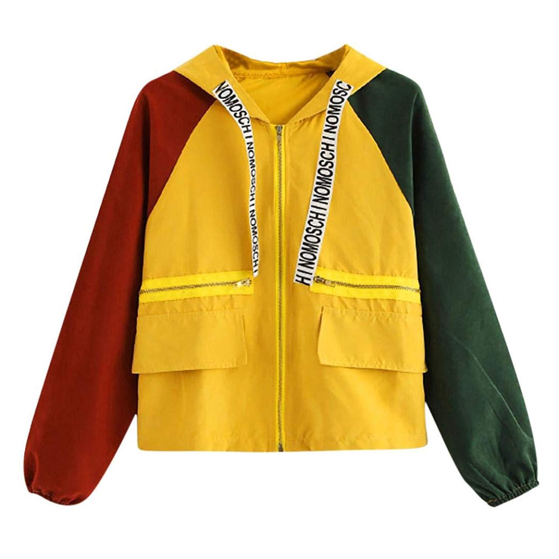 f8e82492edd Get Quotations · Balakie Womens Casual Patchwork Oversize Zipper Jacket  Windbreaker Coat Overcoat