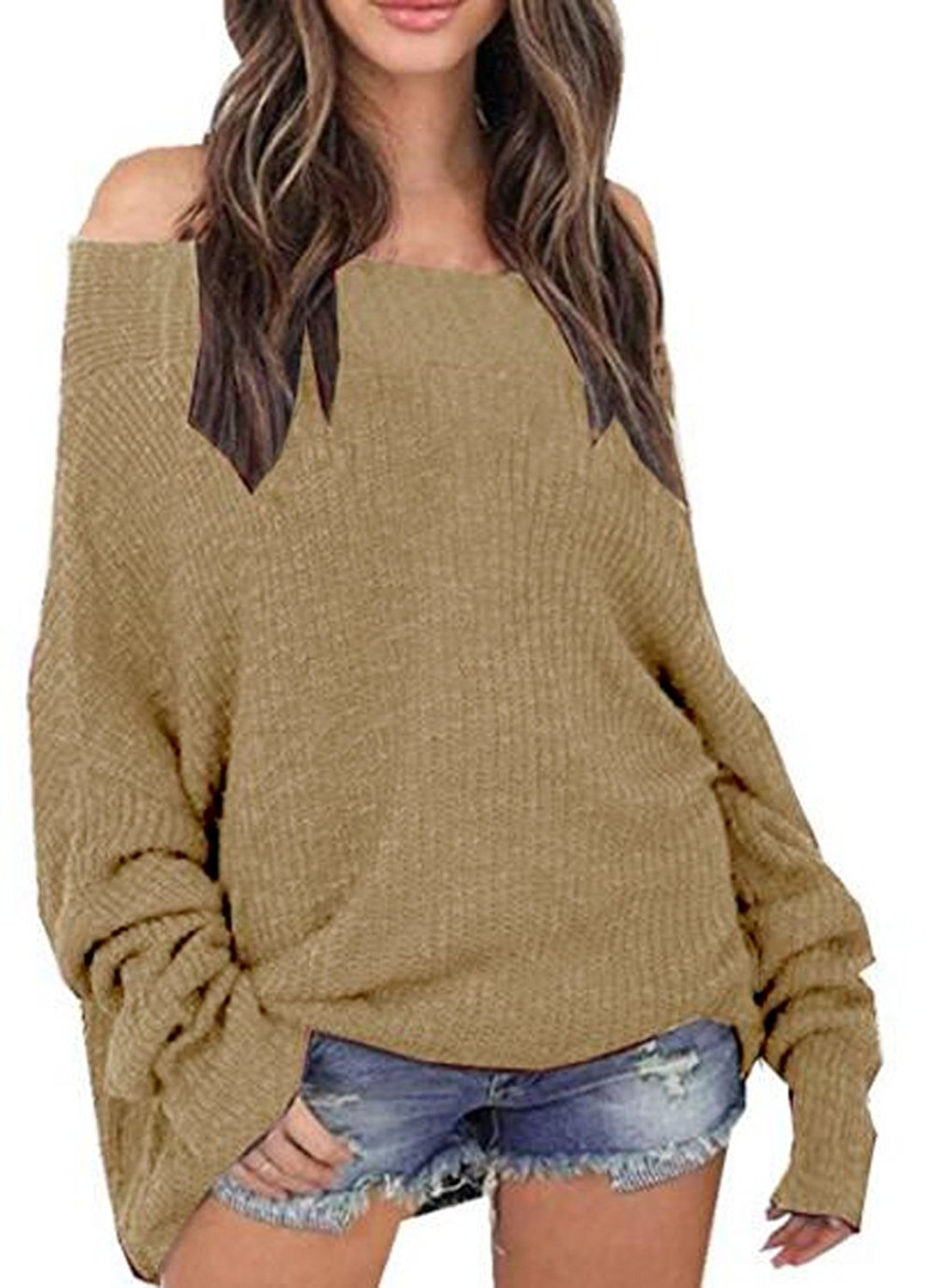 dfd8be5784c UGET Women's Oversized Off Shoulder Batwing Sleeve Knit Loose Pullover  Sweater Tops