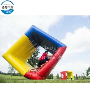 Hot-sale giant outdoor interactive inflatable cube flip it team building roller game