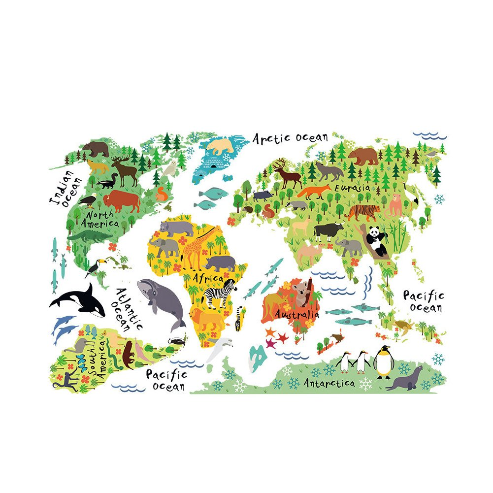 Animal World Map Wall Sticker (H 60cm- W 90cm),LoveQmall Peel & Stick Wall Decals Stickers Waterproof Removable for Children's Room & Nursery Kids Studyroom