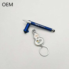 Wholesale Custom Business Promotional Gift Pen and Cheap Nail Clipper with Bottle Opener and Keychain