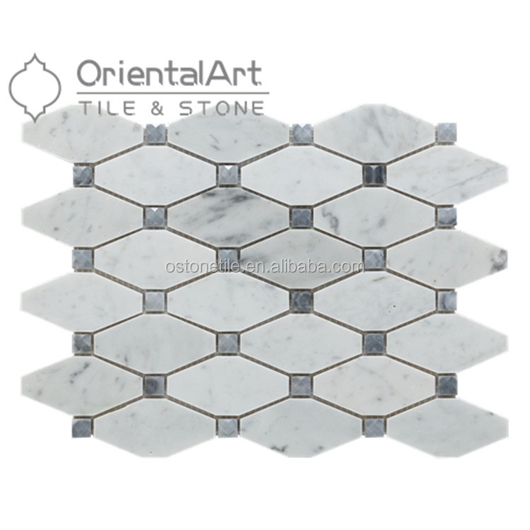 Carrara Bianco Rhomboid Honed Long Octagon Bardiglio Gray Dot Mosaic