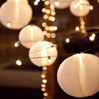 Chinese White Paper Lanterns With Bulbs