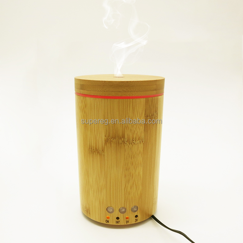 Real Bamboo Utrasonic 150ml Aroma Diffuser With 7-Color LED Light