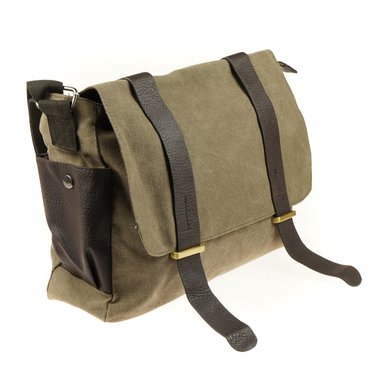 New 2015 Fashion Hot Sale Canvas Leather Satchel School Bags Stonewashed Solid Design Buckles Men Messenger Bags Army Green