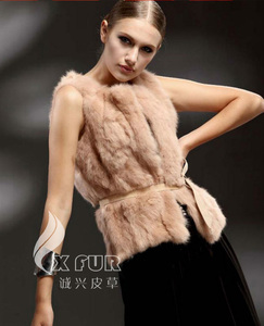 CX-G-B-201D New 2018 Real Rabbit Women Genuine Fur Vest