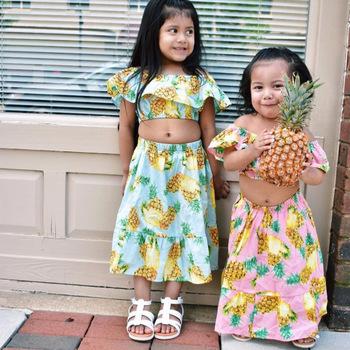 bc4137385 Retail 2018 Summer Girl Clothing Sets Pineapple Print Beach Dresses  Shoulderless Top+Ruffles Long Skirt