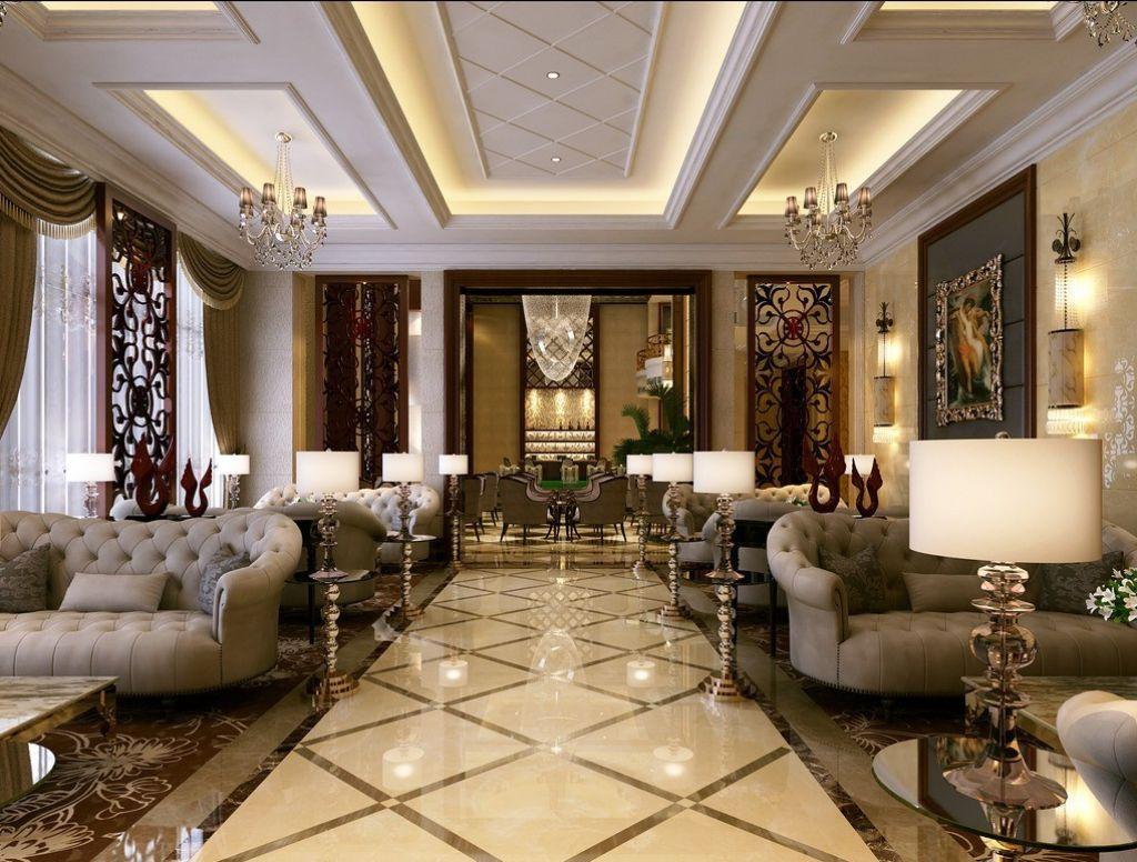 Luxury Home Living Room Design Marble Floor Waterjet ...