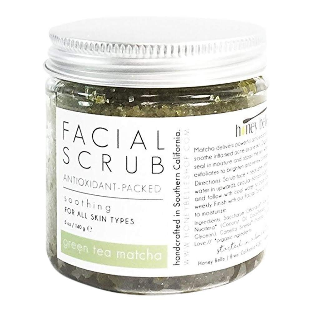 All Natural Green Tea Detox Face Scrub | 100% Organic Facial Scrubs | Exfoliate, Hydrate, Moisturize All Skin Types | For Blemishes & Blackheads, and the Best Exfoliating Sugar - By Honey Belle