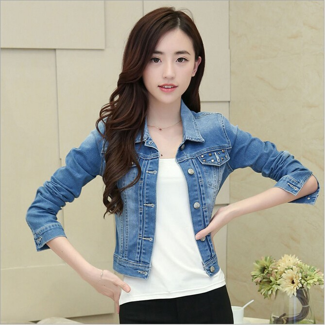 Wa9037 Denim Jacket Short Rivets Korean Girl Fashion Denim Jacket