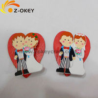 2016 creative funny For wedding fashion using decorations wood fridge magnet with the image of Bride and Bridegroom