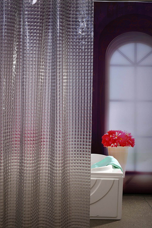 Gemdale EVA Waterproof Mildew Resistant Shower Curtain Liner Grey Translucent Cat Eyes Curtains