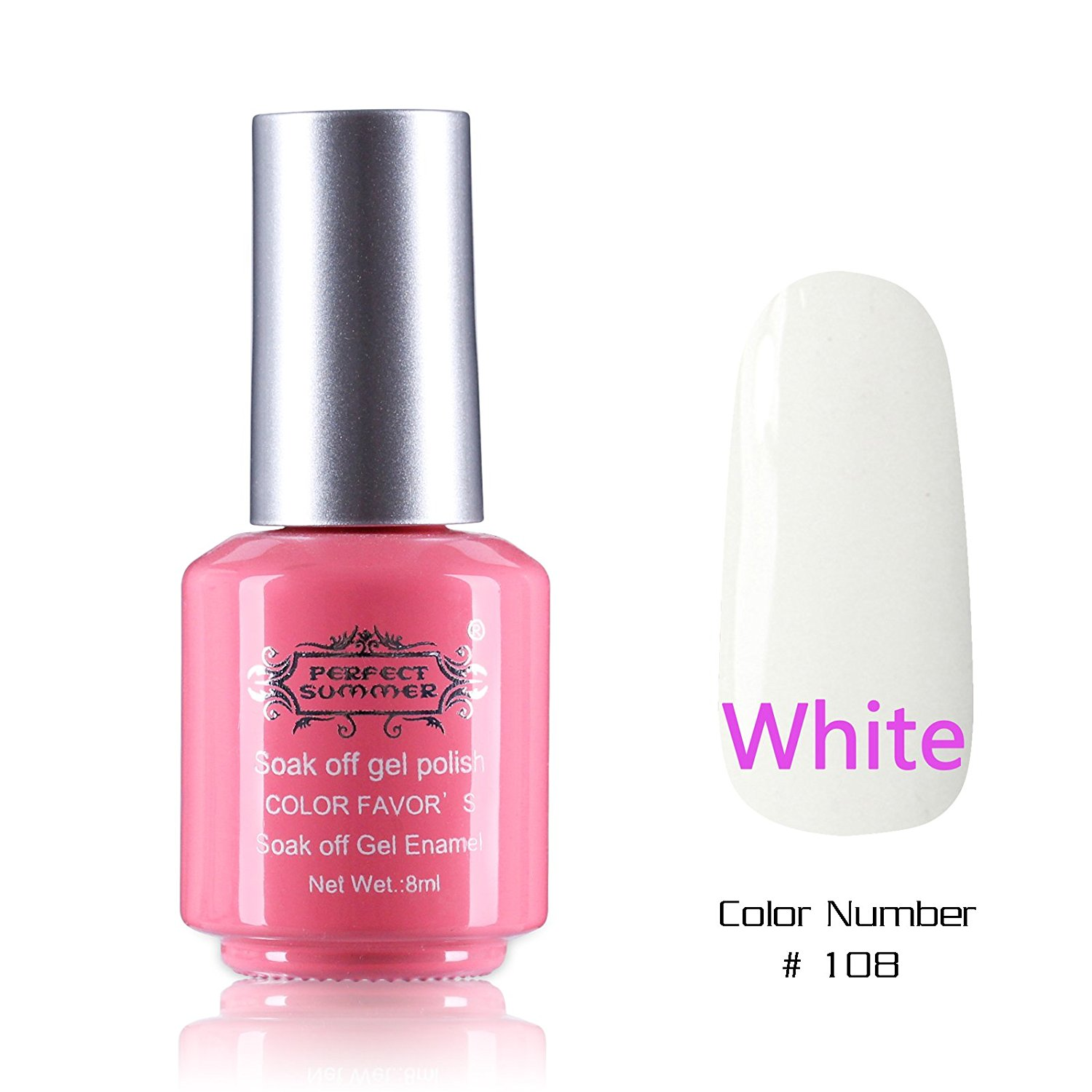 Perfect Summer Nails Painting Art Salon Decoration Gift 8ml Gel Nails Polish UV Led Light Soak Off Creative French Manicure Teens Nails Lacquers Varnish #108 white