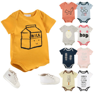 Alibaba Online Shopping Short Sleeve Baby Romper Jumpsuit Custom Organic Cotton Plain Cotton Baby Romper