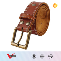 Mens Full Grain Leather Double Stitched Business Casual Dress Leather Belt