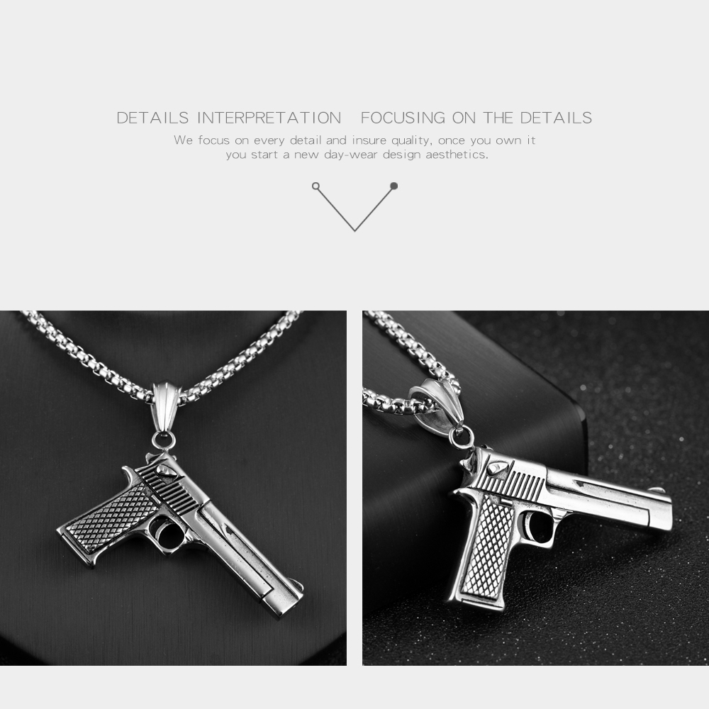 Wholesale Men Accessories Jewelry Stainless Steel Gun Charm Silver Chain Necklace