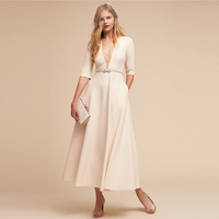 2018 Wholesale Europe and America deep v beige sleeve sexy long dress