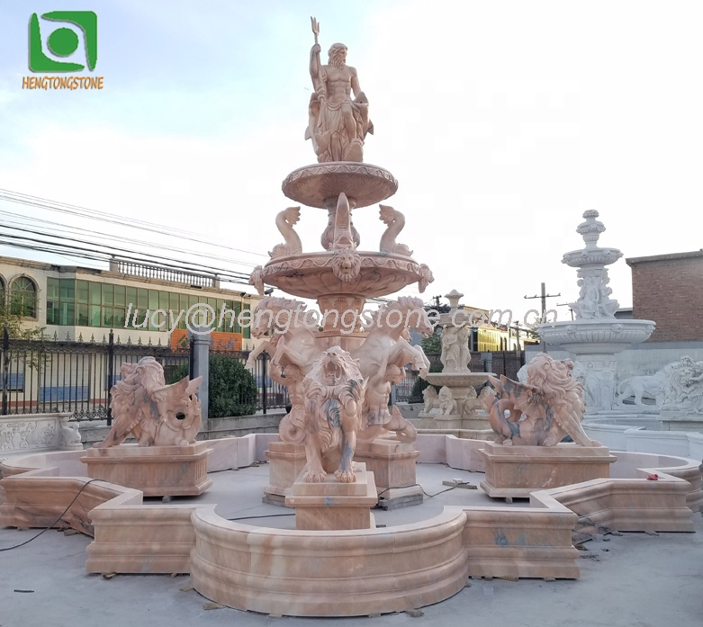Large Pink Marble Outdoor Garden Water Fountain with Horse and Lion