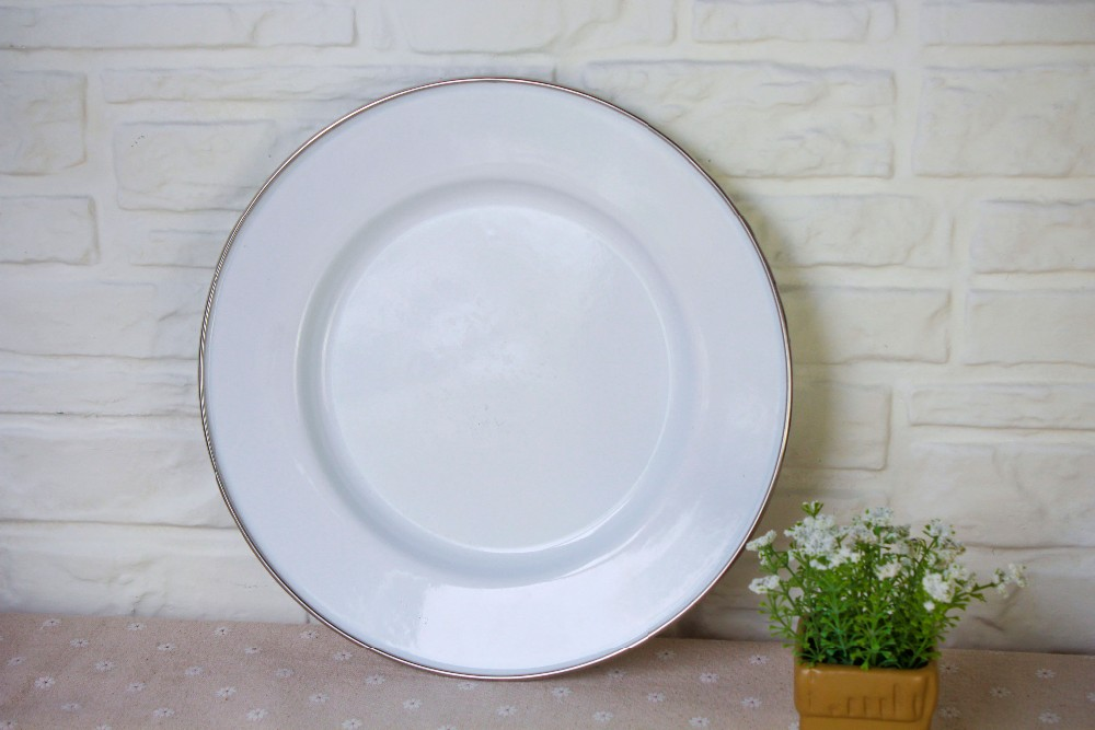 Enamelware Dinner Plate - Solid White /Cream with crab design & Enamelware Dinner Plate - Solid White /cream With Crab Design - Buy ...