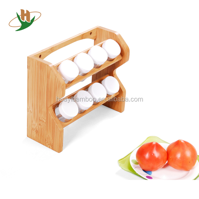 2 Tiers High Quality Bamboo Wooden Tabletop Spice Rack For Kitchen