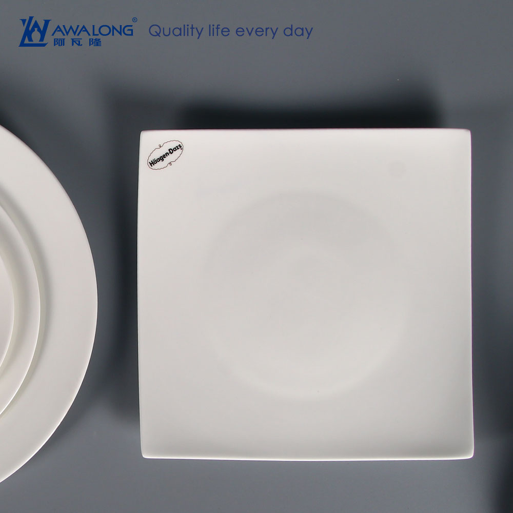 custom logo printed dinner square <strong>plates</strong> white plain flat square <strong>plates</strong> for Haagen-Dazs