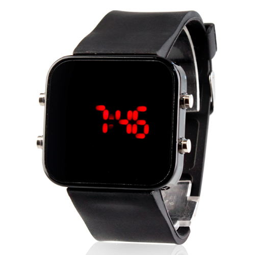 Free shipping Mirror face Black jelly sports silicone watches children watches for girls square rubber digital Kids watches boys