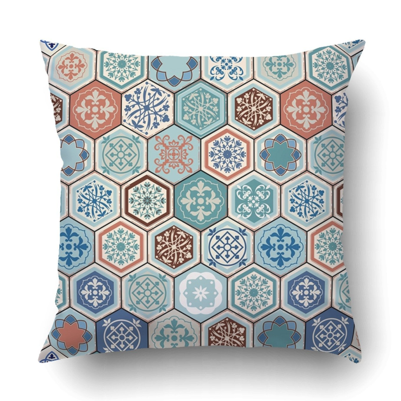 Emvency Decorative Throw Pillow Cover Case for Bedroom Couch Sofa Home Decor Oriental pattern Realistic Vintage Moroccan Portuguese hexagonal tiles Patchwork Square 18x18 Inches Moroccan