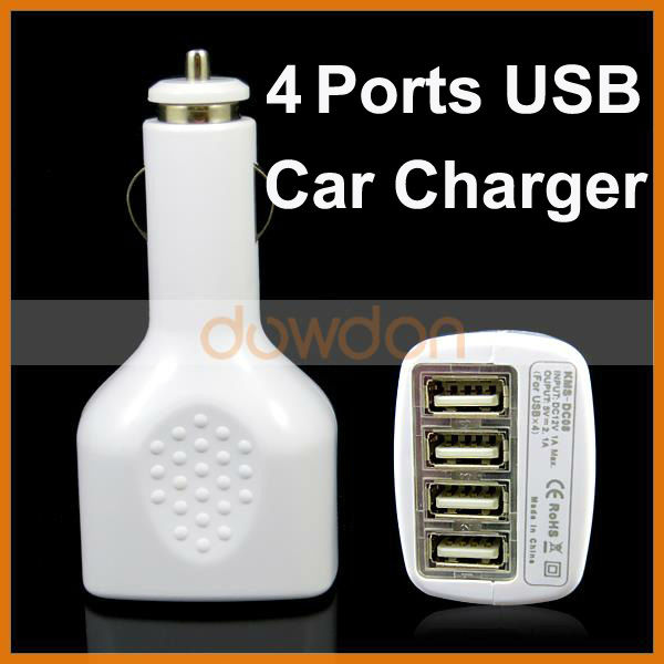 5V 2.1A CE FCC 4 Ports Usb Car Charger For Ipod Iphone Ipad Cell Phone