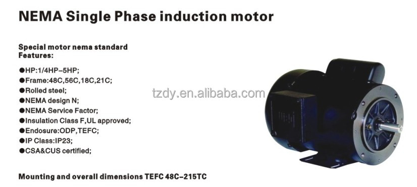 Nema single phase induction electric motor insulation for Nema design b motor