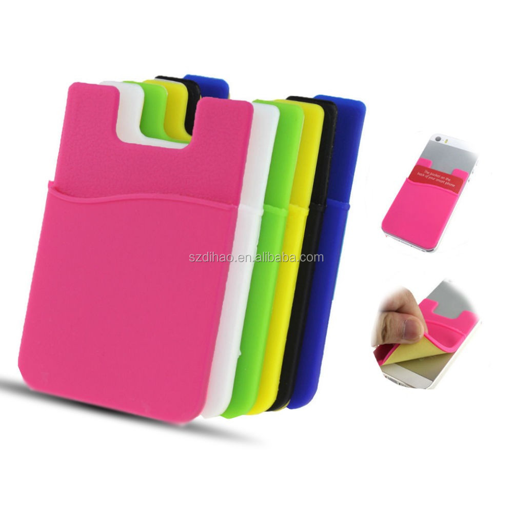DIHAO New product 3M sticker smart wallet lycra cell phone credit card holder,credit card wallet