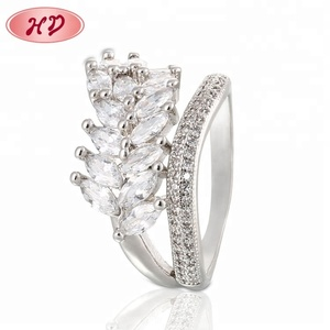 Rings Jewelry Women,Classic Zircon Ring Cz Sparkling Leaves Ring