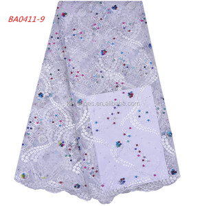 White Lace Fabric African French Lace Fabric Tulle With Beads Hand Embroidery Fabric Tulle 1135