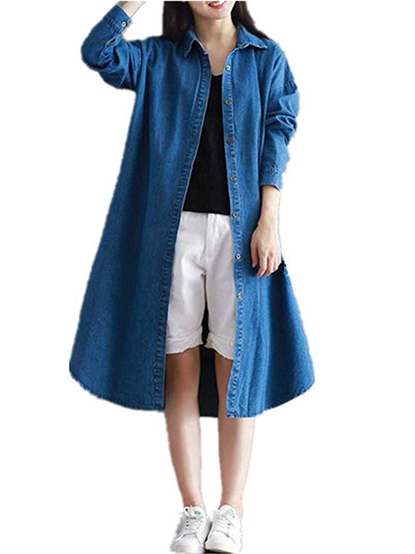 Shining4U Fashion Womens Long Denim Jacket Denim Coat Long Sleeves Jean Jacket Outwear