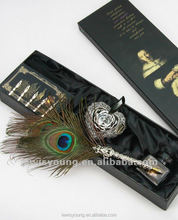Chinese element gift Natural peacock feather quill pen