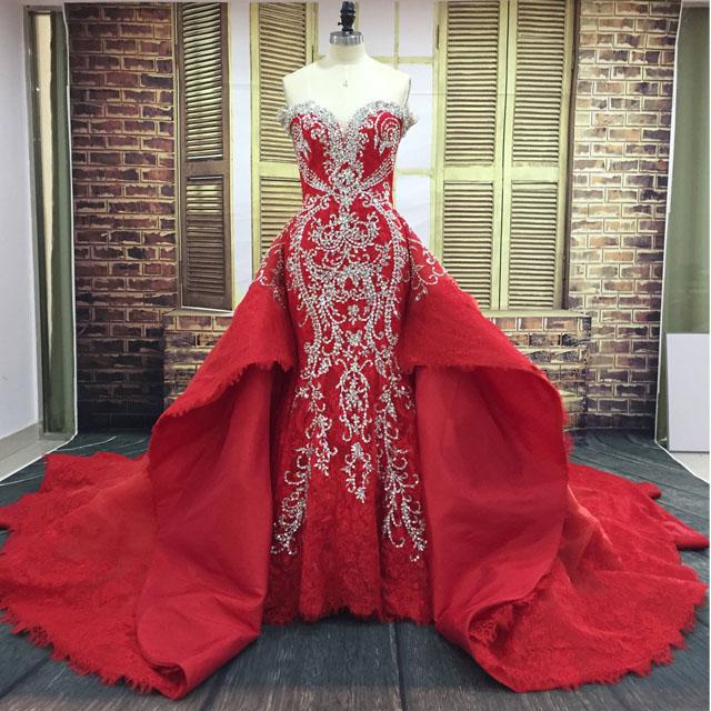 Luxury Sweetheart Lace Beaded 2 In 1 Bridal Mermaid Red Wedding