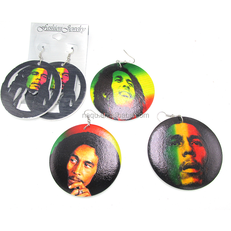 Wholesale Price Bob Marley Wooden Earrings