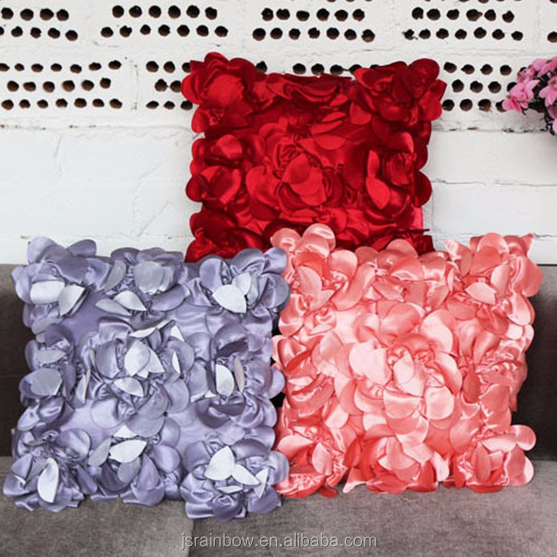 Wedding faux silk 3d Rose flowers applique work cushion cover for office chair wholesaler cushion to cover fancy pillow covers
